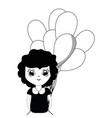 contour pretty girl with balloons and casual wear vector image vector image