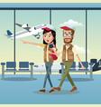 couple traveler cap airport vector image