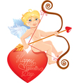 Cute angel with arrow and bow sitting on red heart vector image vector image