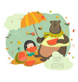 cute girl with bear eating watermelon vector image vector image