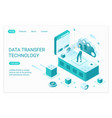 data transfer technology landing page isometric vector image