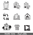 Doodles icons real estate vector image