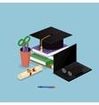 Education graduation license certificate flat 3d vector image