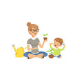 elementary teacher telling little boy about plants vector image vector image