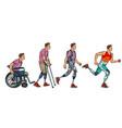 evolution rehabilitation man leg prosthesis vector image