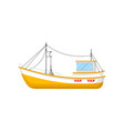 flat icon of yellow fishing trawler ship vector image
