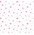 floral seamless pattern with pink flowers on white vector image vector image