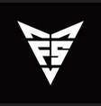 fs logo monogram with back drop shape logo design vector image vector image