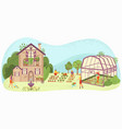 garden care people gardening near country house vector image vector image