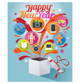Gift Box with Happy New Year Text and Various Icon vector image vector image