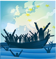 immigration people with the boat vector image vector image