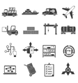 logistic black icons set vector image
