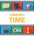 movie time poster with clapperboard popcorn vector image