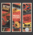 music instruments retro banners music store vector image vector image