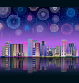 neon night sky with firework city line flat vector image vector image