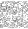 Pattern with cups and mugs Hand drawn zentangle