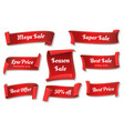 red sale ribbons vector image vector image