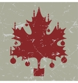 retro-vintage red Christmas maple leaf card vector image