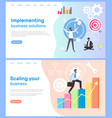 scaling business and implementing working solution vector image vector image