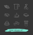 set of bakery icons line style symbols with sugar vector image