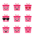 set of happy present boxes vector image vector image