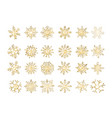 set of snowflakes gold flake of snow gradient vector image vector image