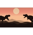 Silhouette of tyrannosaurus with sun vector image vector image