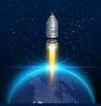 space rocket launch creative art vector image vector image