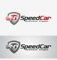 speed car logo template vector image vector image