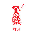 spray bottle dispenser tube of cream with hearts vector image vector image