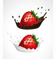 strawberry with milk and chocolate splash vector image vector image