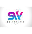 sw s w letter logo with shattered broken blue vector image