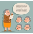 Teacher Emotion Old Female Granny Character Adult vector image vector image