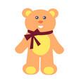 teddy bear with bow on neck vector image