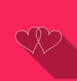 two linked hearts icon isolated with long shadow vector image vector image