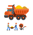 under construction tipper technic vector image vector image