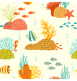 Underwater life pattern on light background vector image vector image