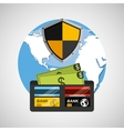 wallet money banking safe shield protection vector image vector image