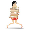 woman hardly holds a lot of books or documents vector image