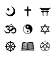 World religion symbols set with - christian vector image