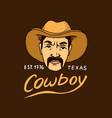native american cowboy old label or badge vector image