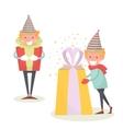 Christmas Elf keeps big gift Christmas vector image