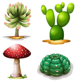 A mushroom and cacti vector image vector image