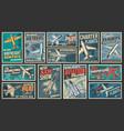 aviation air transport retro posters set