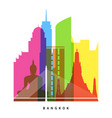 bangkok landmarks bright collage vector image