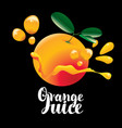 banner for orange juice with orange fruit vector image vector image