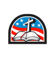 Bible and Cross Stars and Stripes Flag Retro vector image vector image