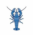 blue lobster vector image vector image