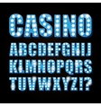 blue neon lamp letters font show casino or vector image vector image