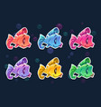 cartoon colorful fish stickers set vector image